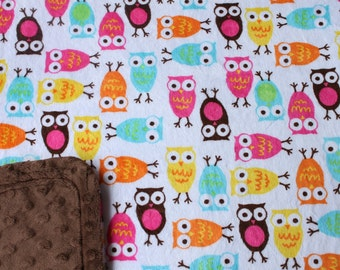 Minky Blanket - Multi Color Owl Minky Print with Brown Dimple Dot Minky Backing - perfect size minky blanket, stroller blanket