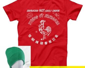 Sriracha Bottle Costume With Hat Funny Humor Hot Sauce Basic Men's T-Shirt DT0058