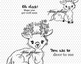 Lovebug Deer two versions with and without flowers plus two sentiments - instant download digital stamps by Tierra Jackson