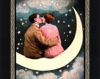 Lovers on a Paper Moon - Romantic Wall Art - Paper Moon Kiss - Art Nouveau Print - Bedroom Wall Art - 1920s Wall Art - Gift for Loved One