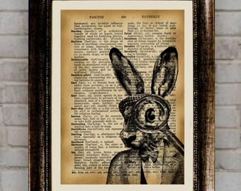 Bunny Pictures Animal poster Rabbit  illustration Antique Dictionary art Wildlife print