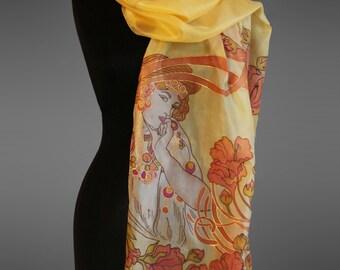 Alphonse Mucha silk scarf. Hand painted silk scarf.  Pure silk scarf. Art to wear. Ready to ship.