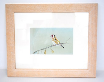 Goldfinch on linen painting/framed
