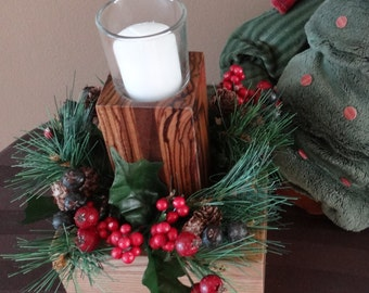 Christmas Candle Holder, Christmas Table Centerpiece ....Also great for Thanksgiving, New Years or Easter