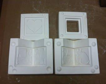 Retired Country Block Folk Art Series Box &Lid Porcelain Ceramic Mold 327 Boothe  B5
