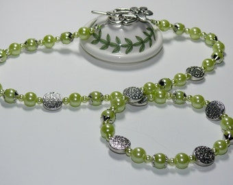 Glass Pearl Mint Green with Silver Accent Handmade Necklace