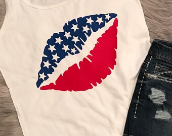 4th of July Tank or Tee, Patriotic Lips, Red White and Blue