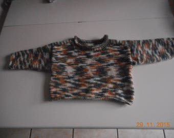 """pull down, rolled sleeves, collar """"handmade"""" fancy 20 month baby wool"""