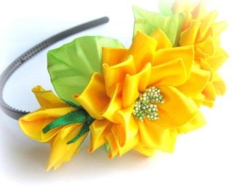 Sunny yellow satin flower headband girl Birthday hair accessory toddler girls Bridal flower Rose headband for baby Satin rose headband