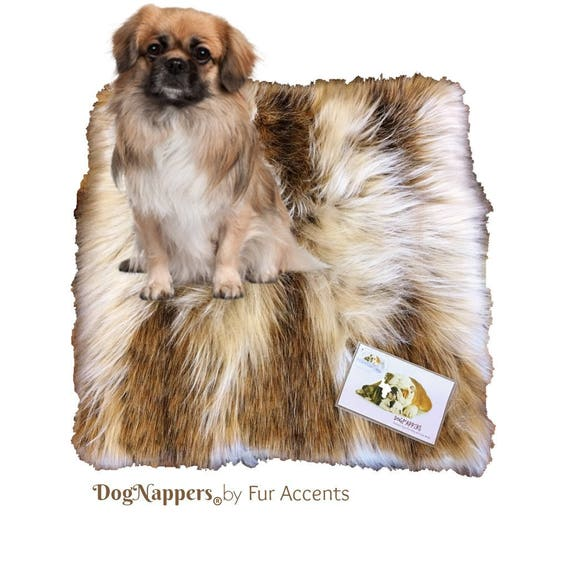 Dog Threw Up On Rug: Shaggy Soft Brown And White Diamond Fox Faux Fur DogNapper Dog