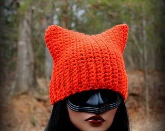 Orange Cat Hat, Orange Beanie, Womens Cat Hat, Cat Ears Hat, Cat Hat, Halloween Hat, Orange Hat, Chunky Hat, Cat Ears Beanie, Cat Beanie, Ca