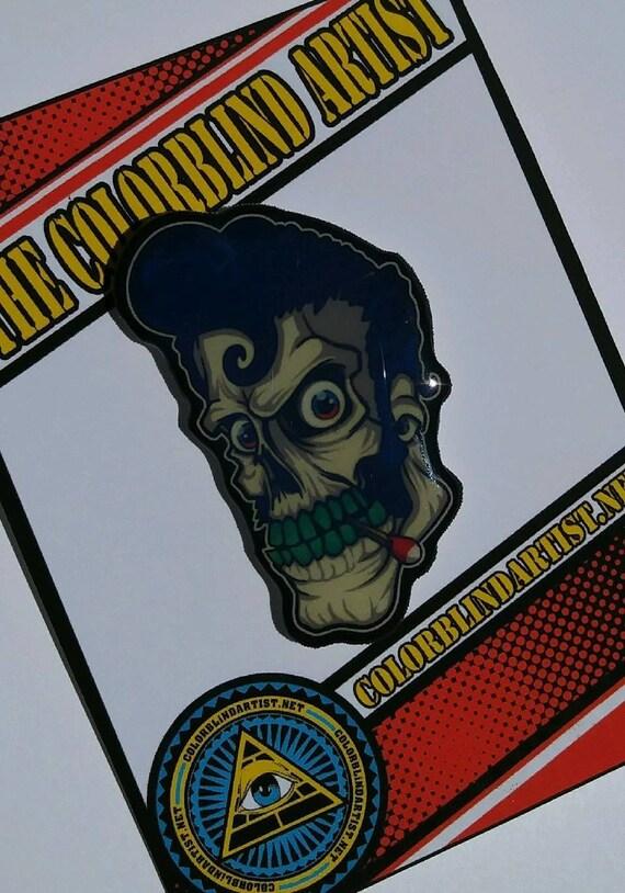 Rockabilly Greaser Skull Handmade Lapel Pin