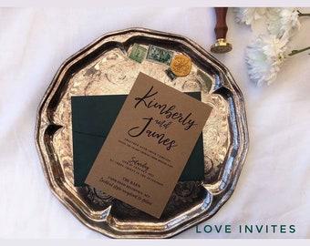 DIY wedding invitation   printable rustic wedding invite   printable wedding invitations   printable invitation   Calligraphy