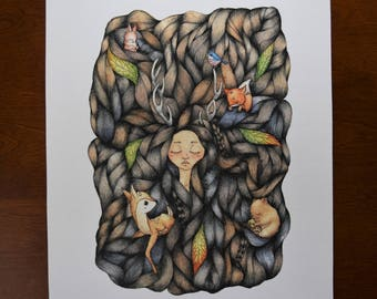 Forest Girl Watercolor Print