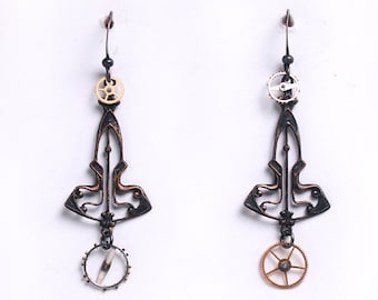 Steampunk Brass Filigree and Watch Gear Wheels Earrings