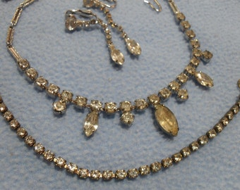 Vintage Rhinestone Necklace, Bracelet and Earrings