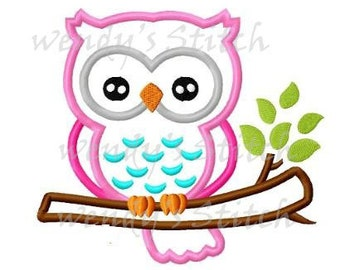 Owl on a tree branch applique machine embroidery design digital