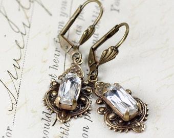 Bridal crystal earrings rhinestone vintage style brass victorian filigree elegant wedding bridesmaid jewelry antique bronze baguette jewel