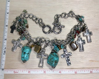 "Vintage 14""-15"" Silver Toned Faux Turquoise Tiger Eye Cross Necklace Used"