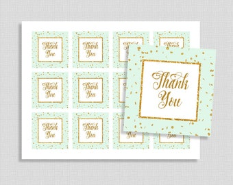 Mint Favor Tags, Mint and Gold Glitter Confetti Thank You Party Favor Tags, Neutral Baby Shower, INSTANT PRINTABLE