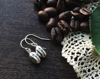 Sterling silver coffee bean earrings, sterling silver earrings