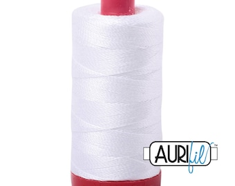 Aurifil 12wt Thread - Cotton Embroidery & Quilting Thread 12 wt - 100% cotton - Solid White 2024