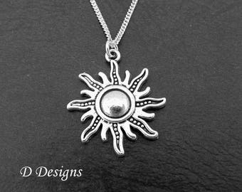 Silver Sun Necklace, Sun Jewellery, Sun Gifts, Sun Charm Necklace, Sun Pendent, Silver Necklace, Gifts for her, Christmas Gift