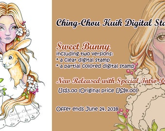 Intro Price- Sweet Bunny - Digital Stamp PRINTABLE Coloring Page Instant Download / Rabbit Flower Girl Lady Line Art by Ching-Chou Kuik