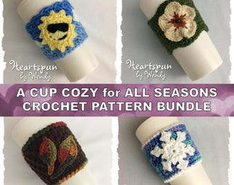 Discount CROCHET PATTERN Bundle to make 4 Seasonal Coffee / Tea Cup Cozies with appliques, Instant Download. Sun, Flower, Leaf, Snowflake