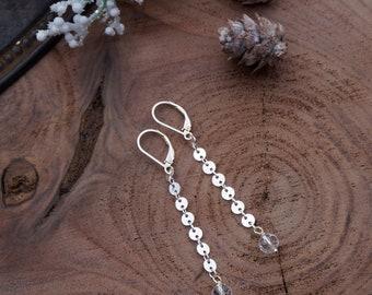 Sterling Silver Statement Earrings / Silver Statement earrings / Silver Earrings / Silver & Crystal Earrings / Sterling Silver Earrings/DREW