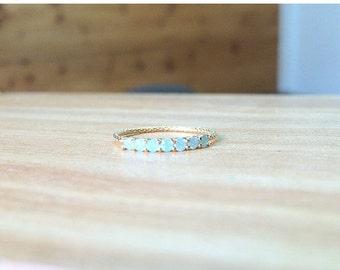Thin gold band - Thin opal ring - CZ stacking ring - Opal ring - Thin ring  - Stacking opal ring - Thin Cz ring