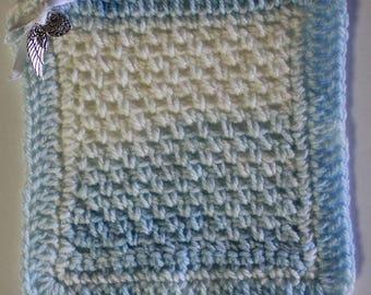 Bereavement Blanket, Memorial Blanket, Crocheted,Remembrance, Blue, White, Angel Baby Blanket, Bereaved Parents, Angel Wing, Heart, Charms