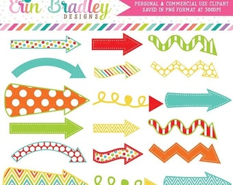 80% OFF SALE Arrows Digital Clipart Graphics Instant Download Decorative Arrow Clip Art in Red Orange Yellow Green Blue Commercial Use