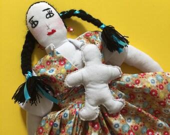 Handmade Mexican Cloth Doll // Nursing Mother Doll // Breastfeeding Cloth Doll