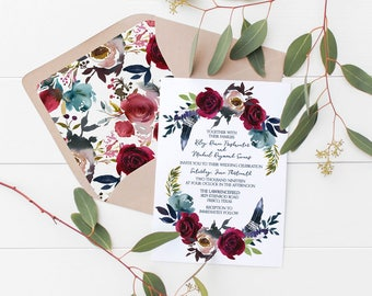 Navy and Burgundy Floral Feather Wedding Invitation Deposit