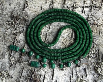 """Bead Crochet Necklace """"Green"""" - Beaded necklace, Beaded rope, Beaded crochet, Handmade jewelry, Beadwork jewelry, Gift for her"""