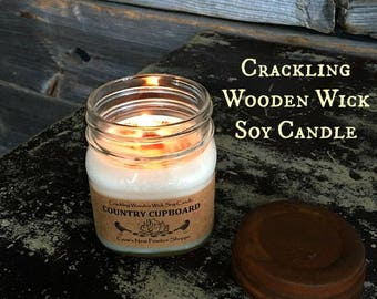 8 ounce Crackling Wooden Wick Natural Soy Candles- Hand poured in mason jars with Primitive Rusty Lid Lots of scents to choose from