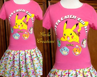 Girls POKEMON Dress, Girls Dress, Pikachu, Bulbasaur. Squirtle, Charmander, Meowth, Dark Pink T-Shirt Dress - Limited XS 4/5 & S 6/6X