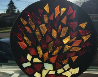 7 inch Earth Tones mosaic Stained Glass suncatcher