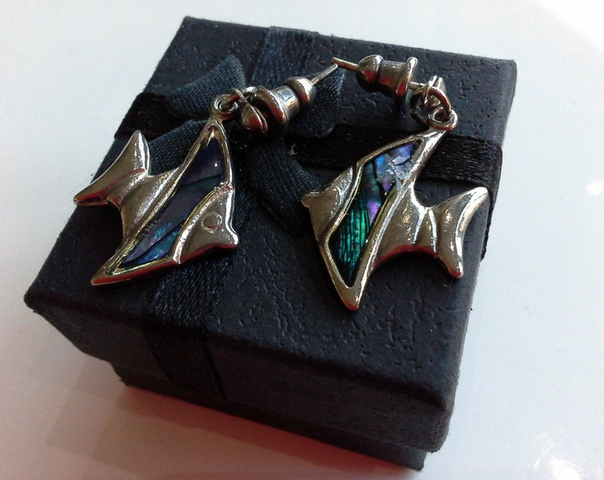 Vintage Silver Tone & Paua Shell Angel Fish Drop Stud Earrings