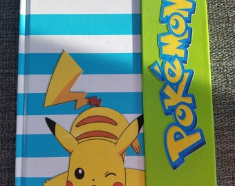 Hard cover Magnetic Pikachu Pokémon embellished journal blue, white, green color scheme