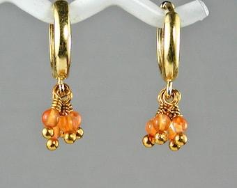 Carnelian Gold Hoop Earrings Petite Flirty Orange