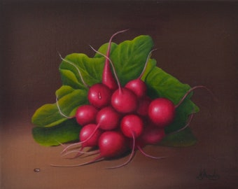 Original 8x10' acrylic radishes painting, vegetable, food artwork, kitchen miniature, small still life painting, realistic veggie, tiny