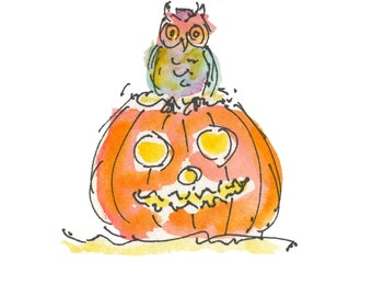 "OWL ON PUMPKIN...Clipart / Digital Download / 300 dpi/ hi resolution of Original Watercolor . 8""x10"" Great for any application."