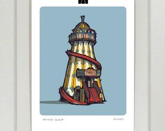 Helter skelter A4 print | Day and Night | Fairground | Vintage | Illustration | Drawing