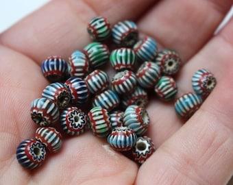 Tiny glass chevron beads