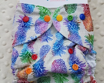 One Size, cloth diaper cover, cotton over PUL with AI2 option, rainbow pineapples, tropical