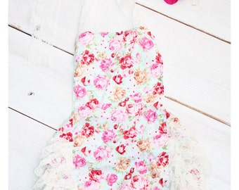 Floral Vintage Style Bubble Romper and matching headband  (Infant, Toddler)  Photo Prop