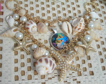Sale! 2 strands fashion chunky chain/necklace w. CONCH, fx PEARL, STARFISH charms