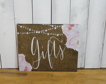Gifts/Flowers/Peonies/Watercolor/String Lights/Reception/Wood Sign/Reception Sign/Wedding Sign/Pink/Stained Wood/Peonies/Romantic